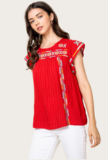 THML Embroidered Short Sleeve  Red Top