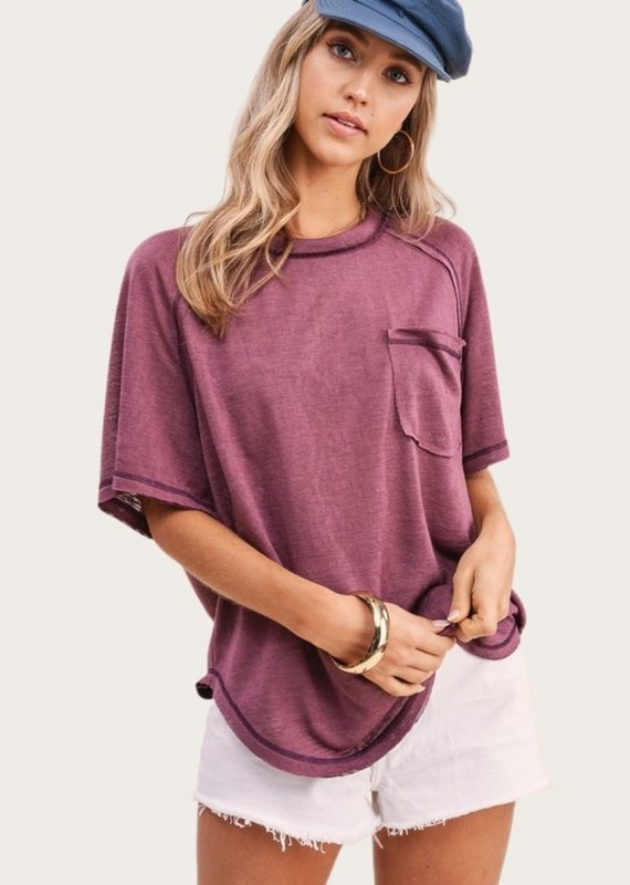 LA MIEL Raw Seam Short SS Berry Top with Pocket