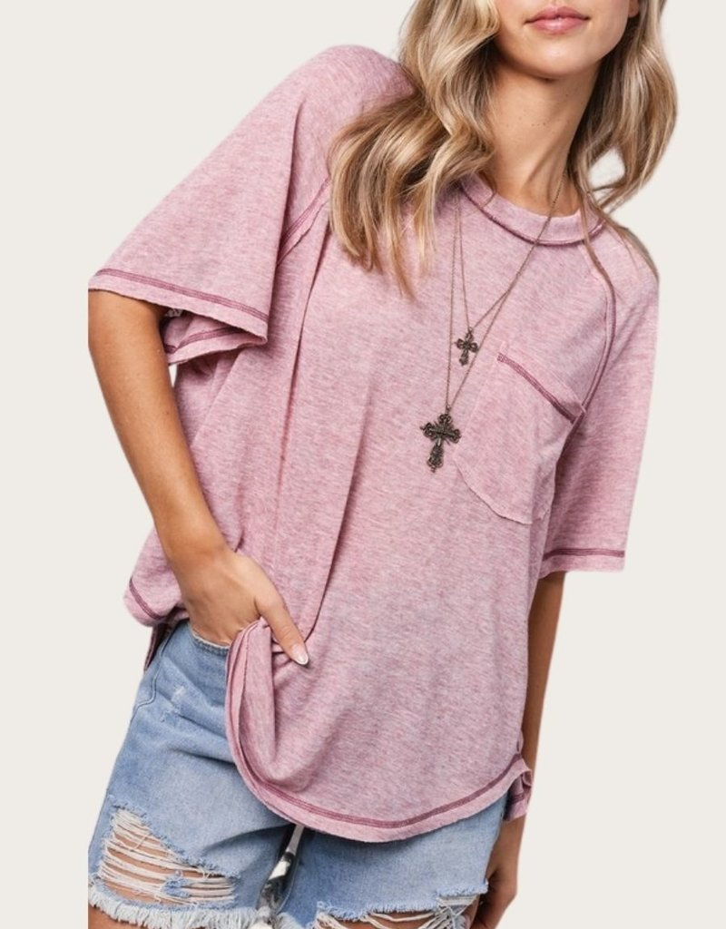LA MIEL Raw Seam Short SS Pink Top with Pocket