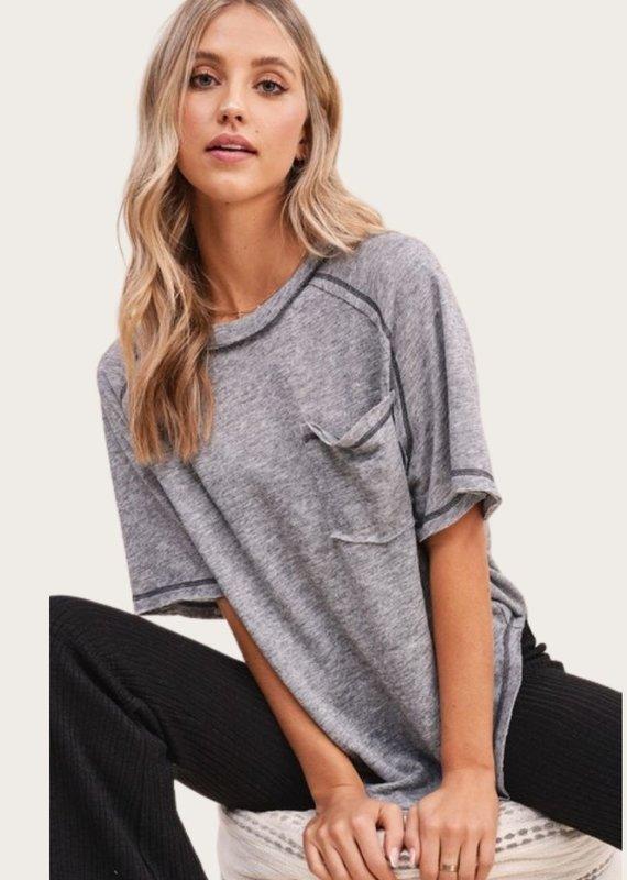 LA MIEL Raw Seam Short SS Grey Top with Pocket