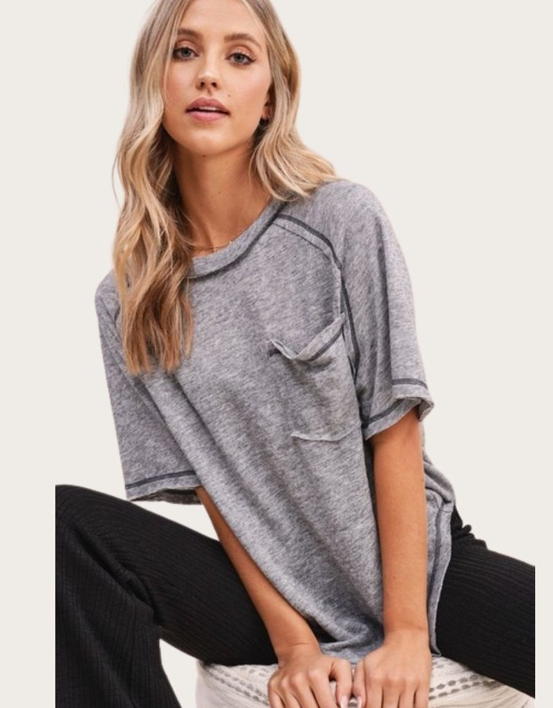 LA MIEL Raw Seam Short SS Grey Top with Pocket