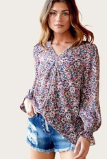 DAVI&DANI Watercolor Floral Blouse