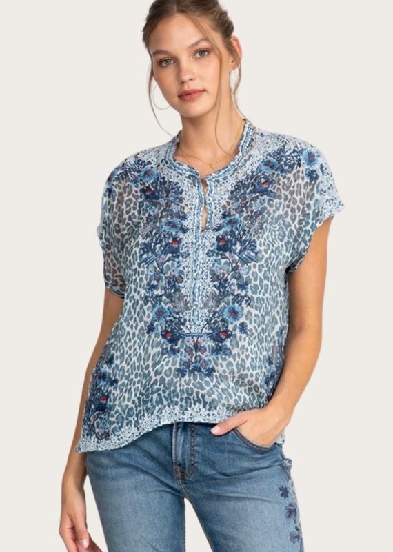 JOHNNY WAS Bluewell Chiffon Blouse Leopard