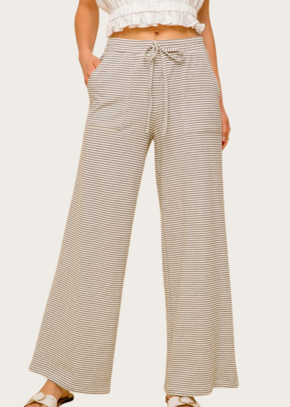 HEM & THREAD Wide Leg Striped Trouser