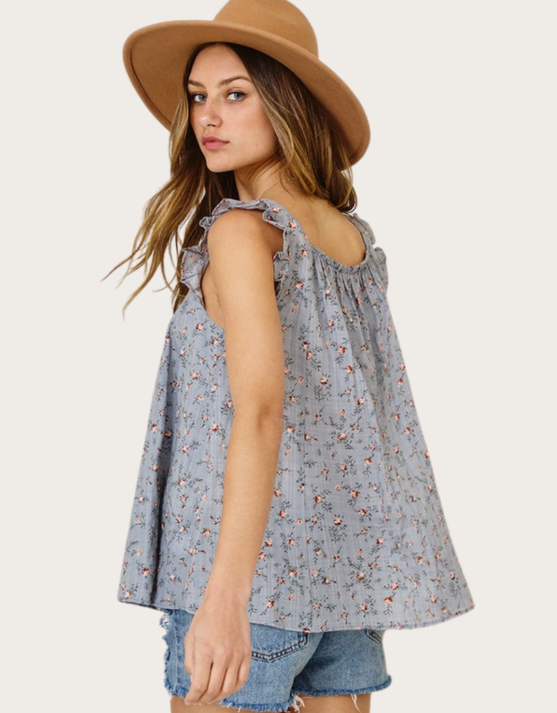 Ces Femme Grey Floral Ruffle Sleeve Top
