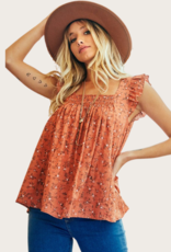 Ces Femme Rust Floral Ruffle Sleeve Top