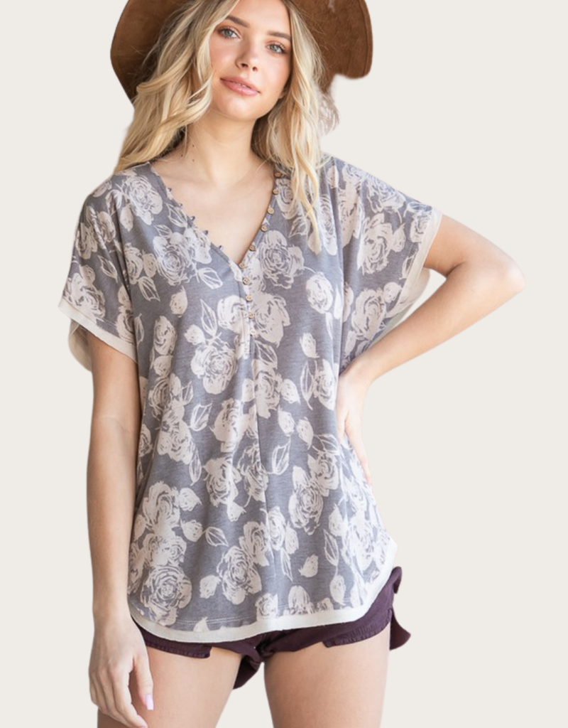 BUCKETLIST French Terry Floral Top