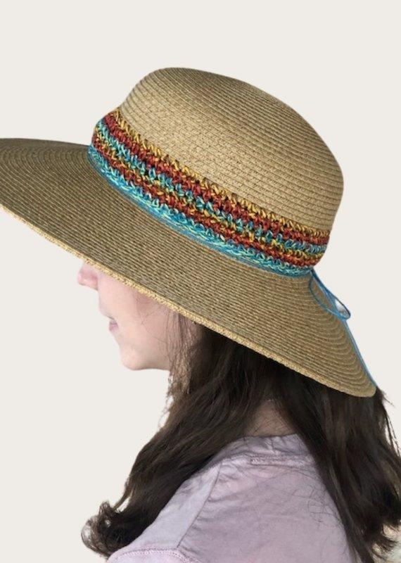 DORFMAN Six Braid Wide Brim Hat