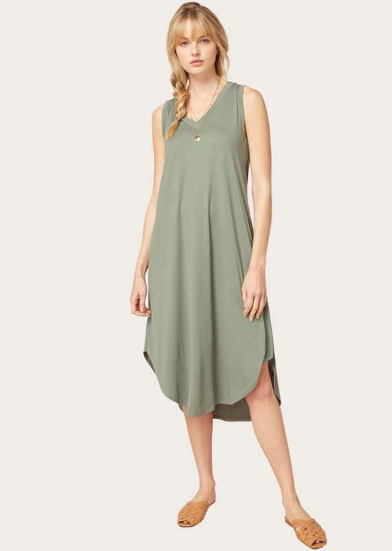ENTRO Racerback Scallop Hem Dress Olive