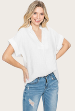 COTTON BLEU White Cotton Gauze Top