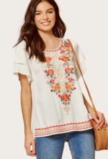 ANDREE BY UNIT Short Sleeve White Embroidery Floral Top