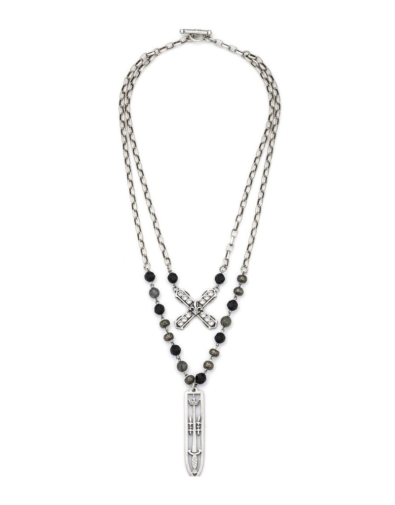FRENCH KANDE Double Strand Nightfall Mix and Alsace Chain French Kande and Sword and Crown Pendant