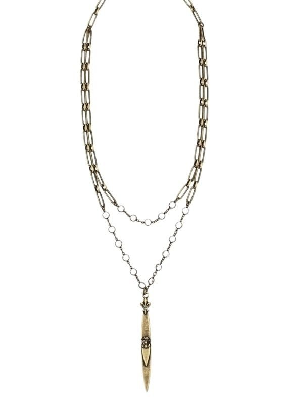 FRENCH KANDE Double Brass Versailles Chain and Pointu Pendant