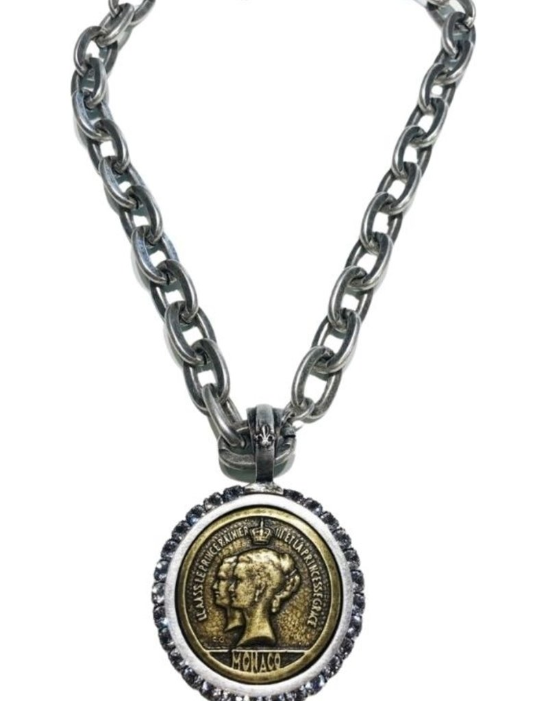 """FRENCH KANDE 17"""" Silver Loudres Chain, Canal Bezel and Brass du Terre Medallion"""