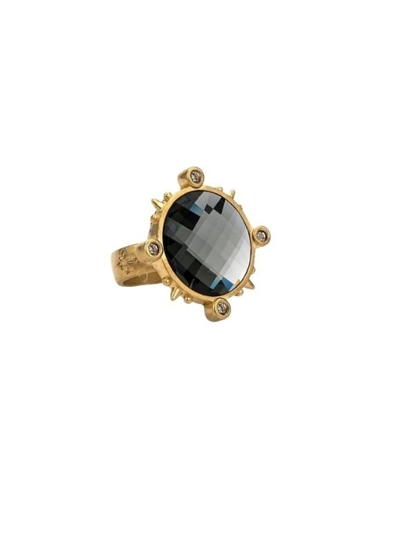 FRENCH KANDE 14K Spiked Ring with Black Diamond Swarovski Chessboard Cabachon Ring Size 7
