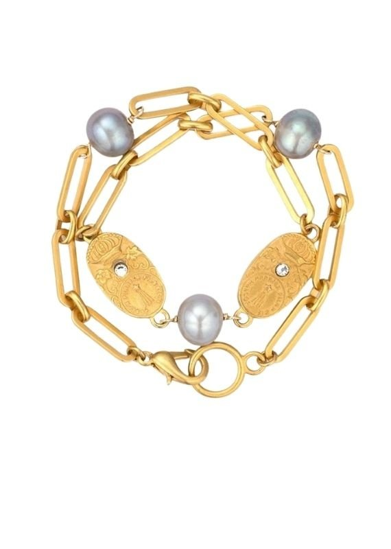 FRENCH KANDE 14K Versailles Chain Silver Pearls and Cuvee Pendants
