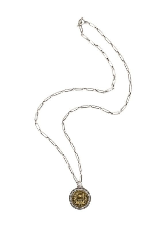 """FRENCH KANDE 38"""" Silver Versailles Chain and Brass Bocque Medallion"""