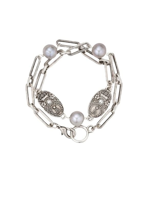 FRENCH KANDE Silver Versailles Chain with Pearls Accents and Cuvee Pendants