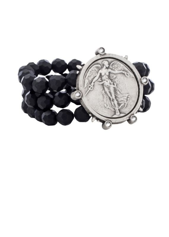 FRENCH KANDE Triple Strand Faceted Black Onyx Spike Bezel and L'ange Medallion