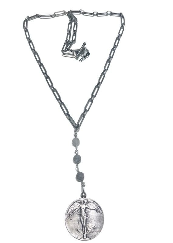 """FRENCH KANDE 29"""" Silver Versailles Chain with Cloudy Quartz and L'ange Medallion"""