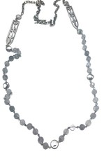 """FRENCH KANDE 45""""Silver Alsace Chain with Cloudy Quartz and Sword and Crown Pendant"""