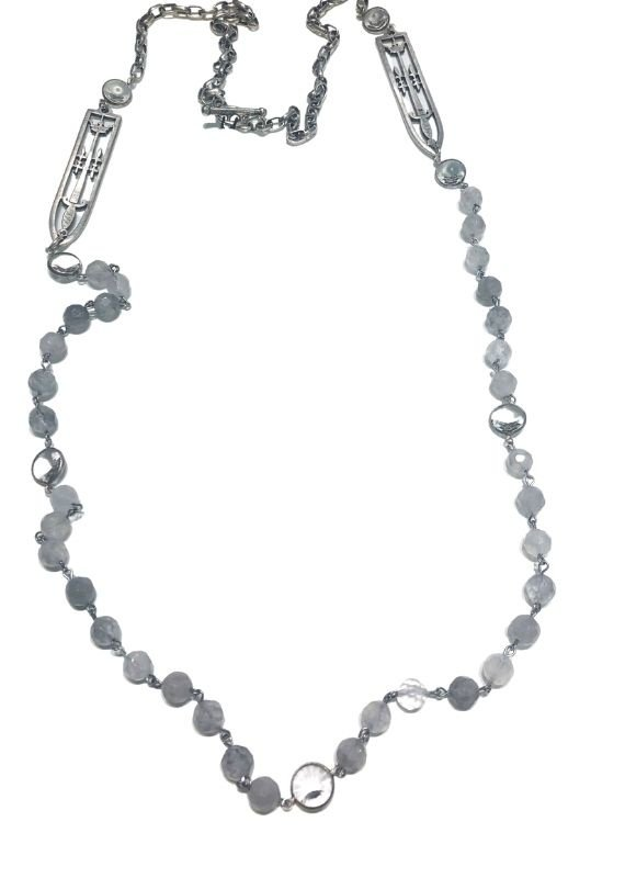 """FRENCH KANDE 45"""" Silver Alsace Chain with Cloudy Quartz and Sword and Crown pendant"""