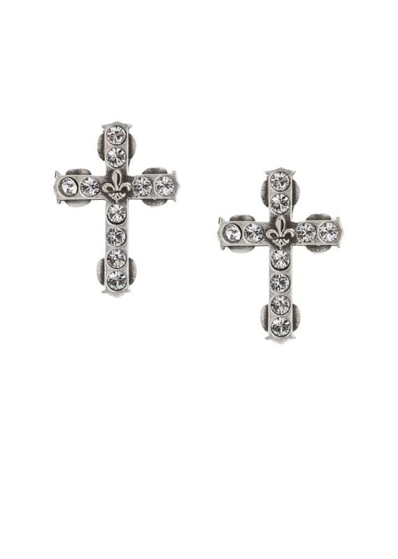 FRENCH KANDE Micro Swarovski Cross Stud Silver