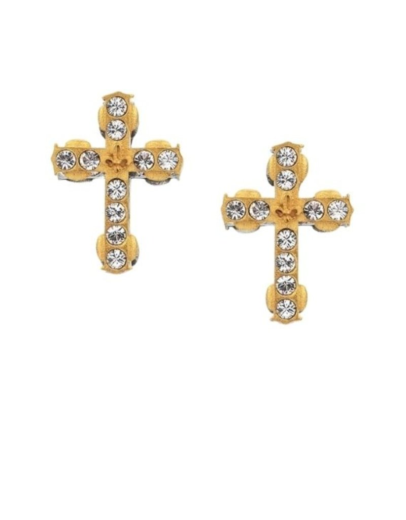FRENCH KANDE Micro Swarovski Cross Stud Gold