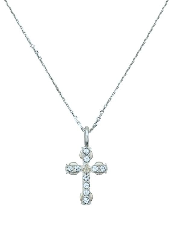 """FRENCH KANDE 14.5-17.5"""" Adjustable Champagen Chain and Micro Cross Silver"""