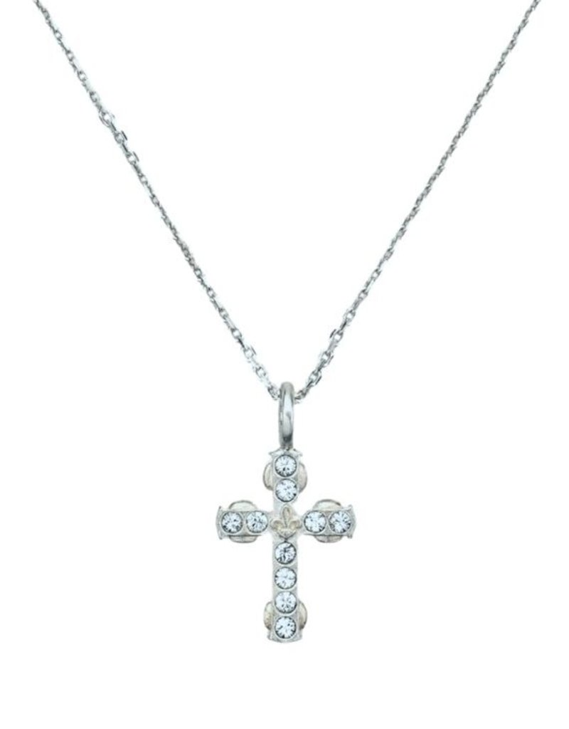 "FRENCH KANDE 14.5-17.5"" Adjustable Champagen Chain and Micro Cross Silver"