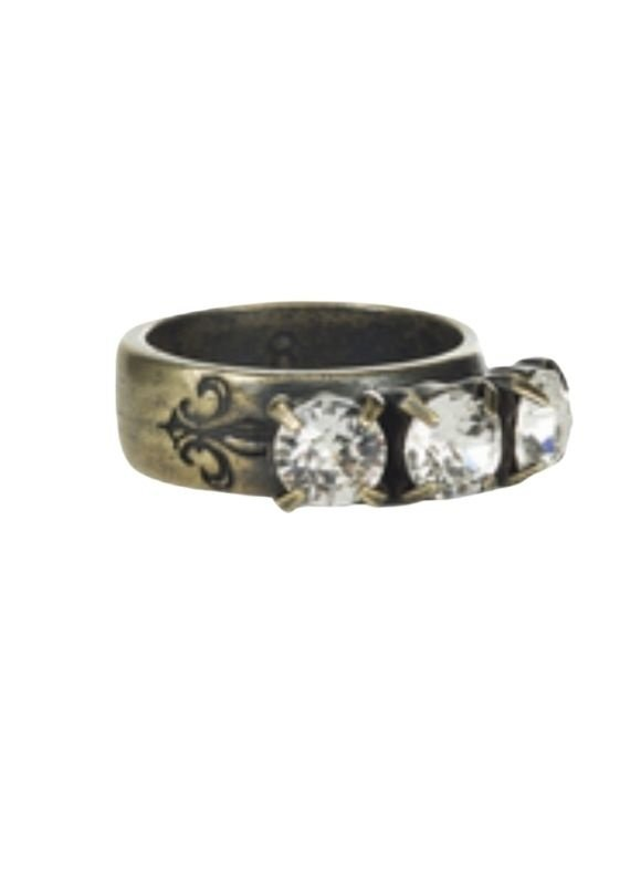 FRENCH KANDE Triple Swarowski Brass Ring