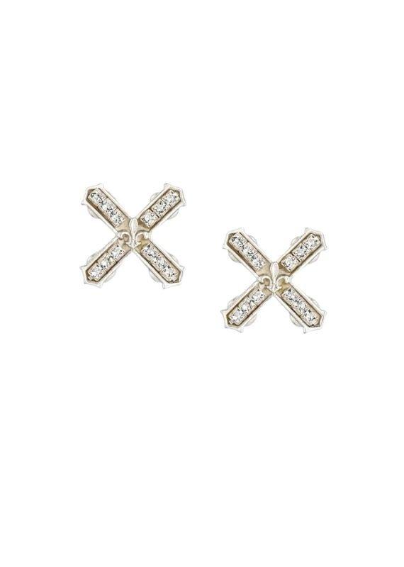 FRENCH KANDE Petite Swarovski French Kiss Earrings Silver