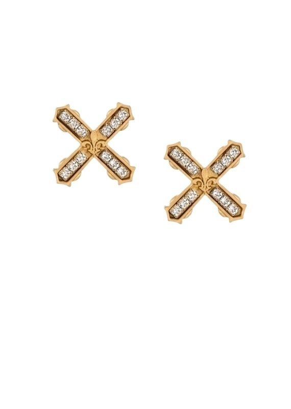 FRENCH KANDE Petite Swarovski French Kiss Earrings Gold