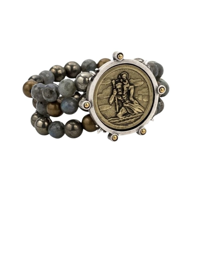 FRENCH KANDE Tripl Strand Coastal Mix with St. Christopher Beaupre Medallion