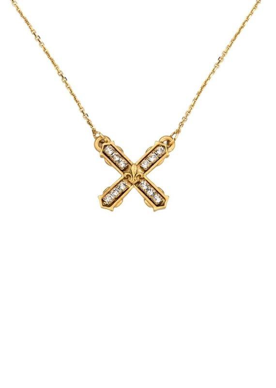 FRENCH KANDE Petite Swarovski French Kiss Necklace Gold