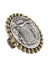 FRENCH KANDE Petite Bezel Ring with Mont Joye Medallion