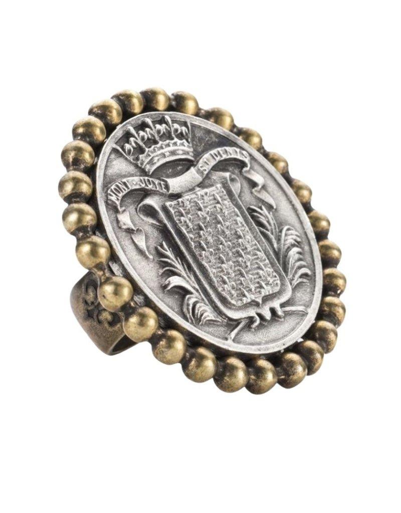 FRENCH KANDE Petite Bezel Ring with Mont Joye Medallion