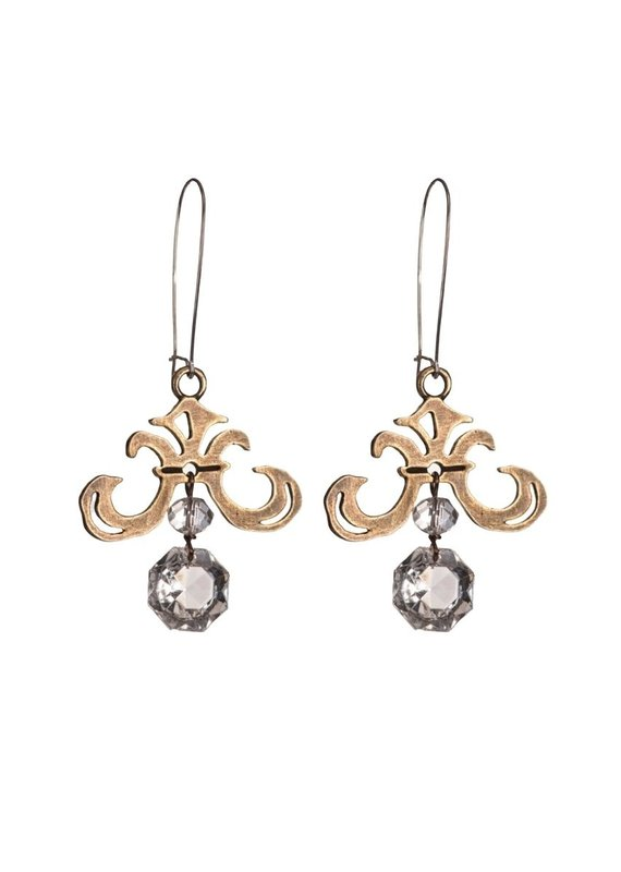 FRENCH KANDE Grand Fleur Earrings with Chandelier Crystal Dangle