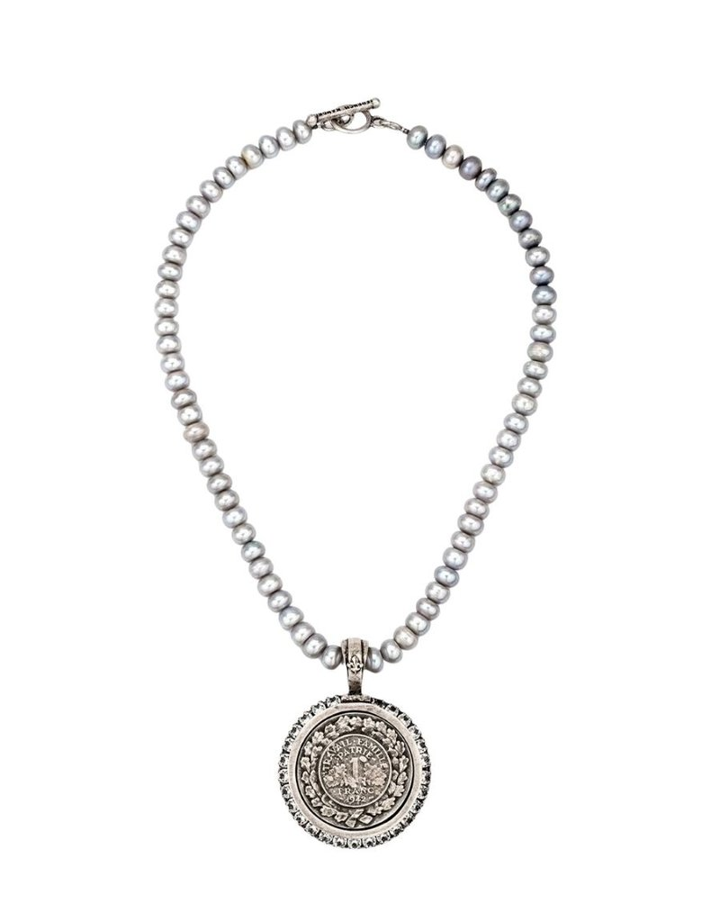 FRENCH KANDE Silver Pearls with Famille Medallion andSwarovski