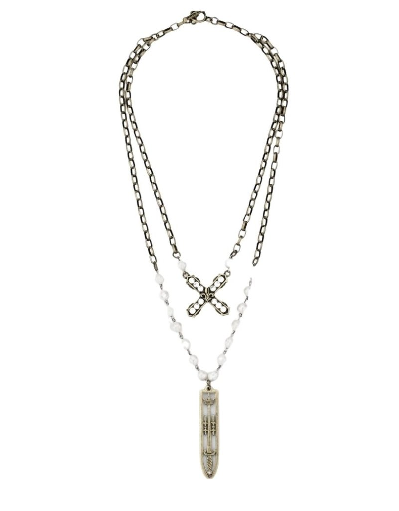 FRENCH KANDE Pearls with Silver Wire, Alsace Chain, Swarovski French Kiss & Sword