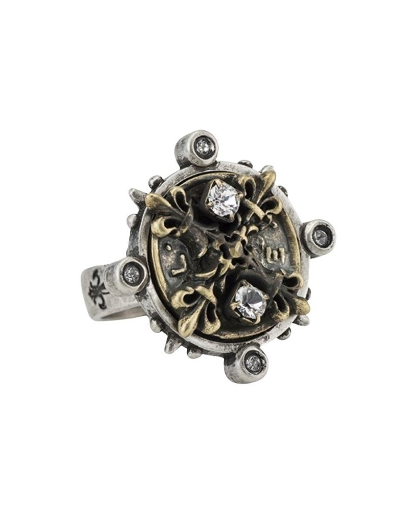 FRENCH KANDE Mixed Metal Spiked Ring with Swarovski X Medallion