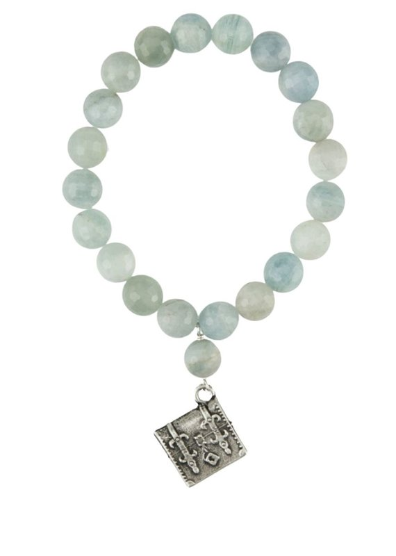 FRENCH KANDE Single Strand Faceted Aquamarine with Tronc Pendant