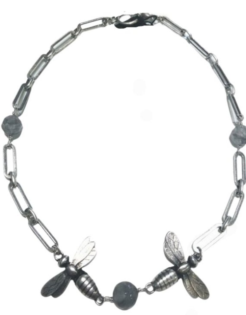 """FRENCH KANDE 16"""" Silver Versailles Chain with Cloudy Quartz and Twin Meils"""