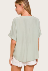 Pocket Detail Dolman Shirt