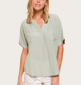 Pocket Detail Dolman Shirt