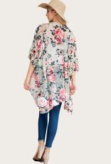 L.A. SOUL Vintage Velvet Burnout Floral Kimono