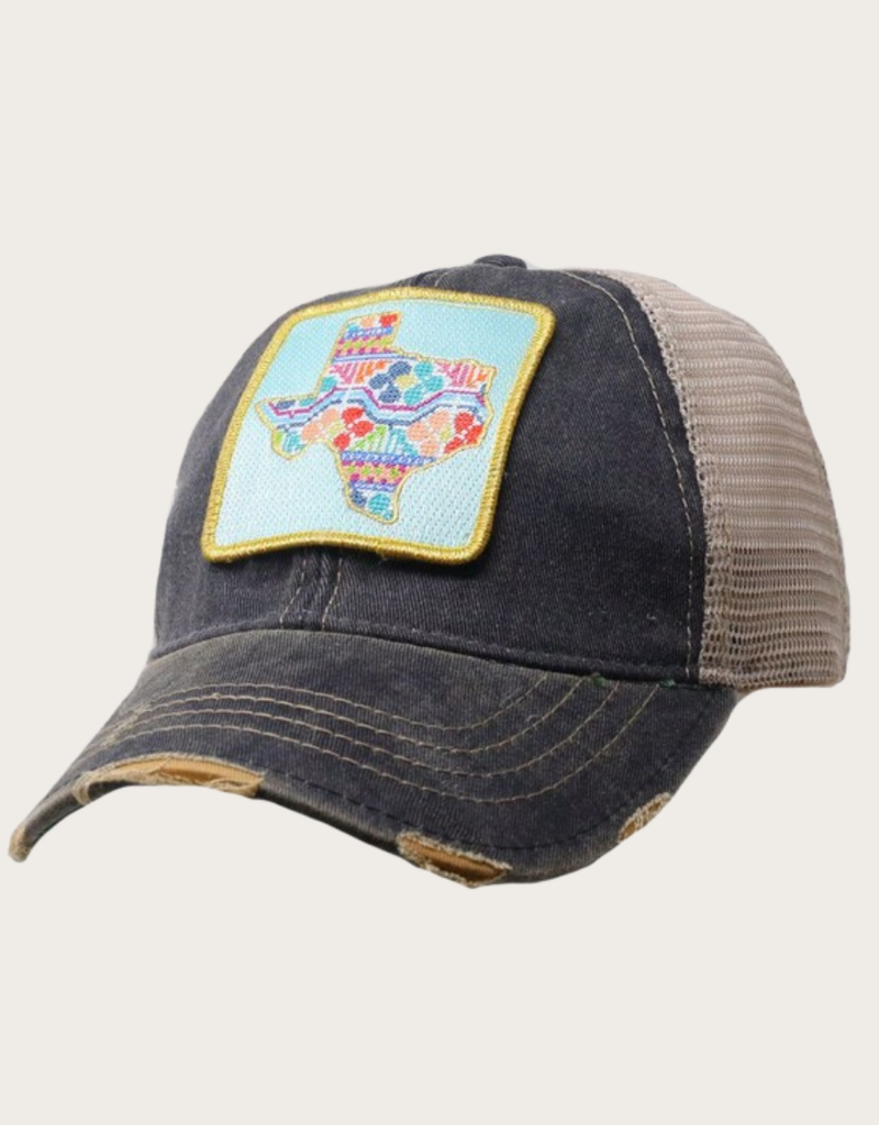 JUDITH MARCH Patchwork Texas Patch Hat Blue