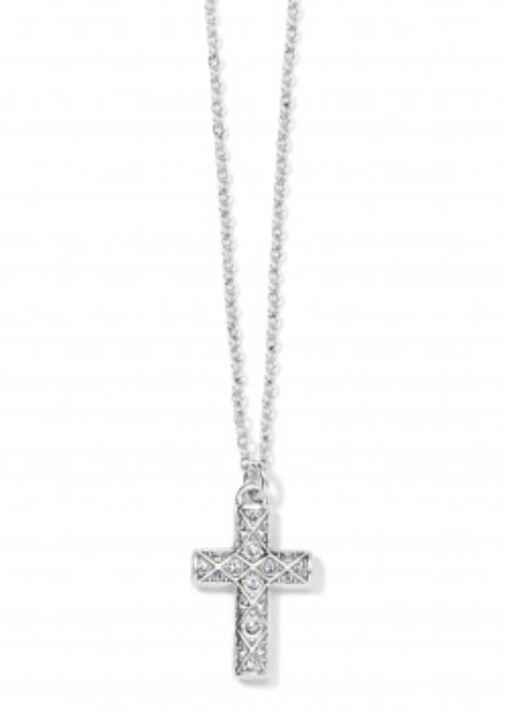 BRIGHTON Silver Diamond Cross Necklace