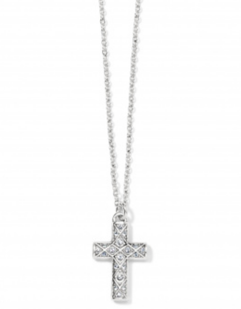BRIGHTON Silver Diamond Cross Necklace