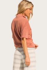 HEM & THREAD Knit Button Down Shirt Terracotta